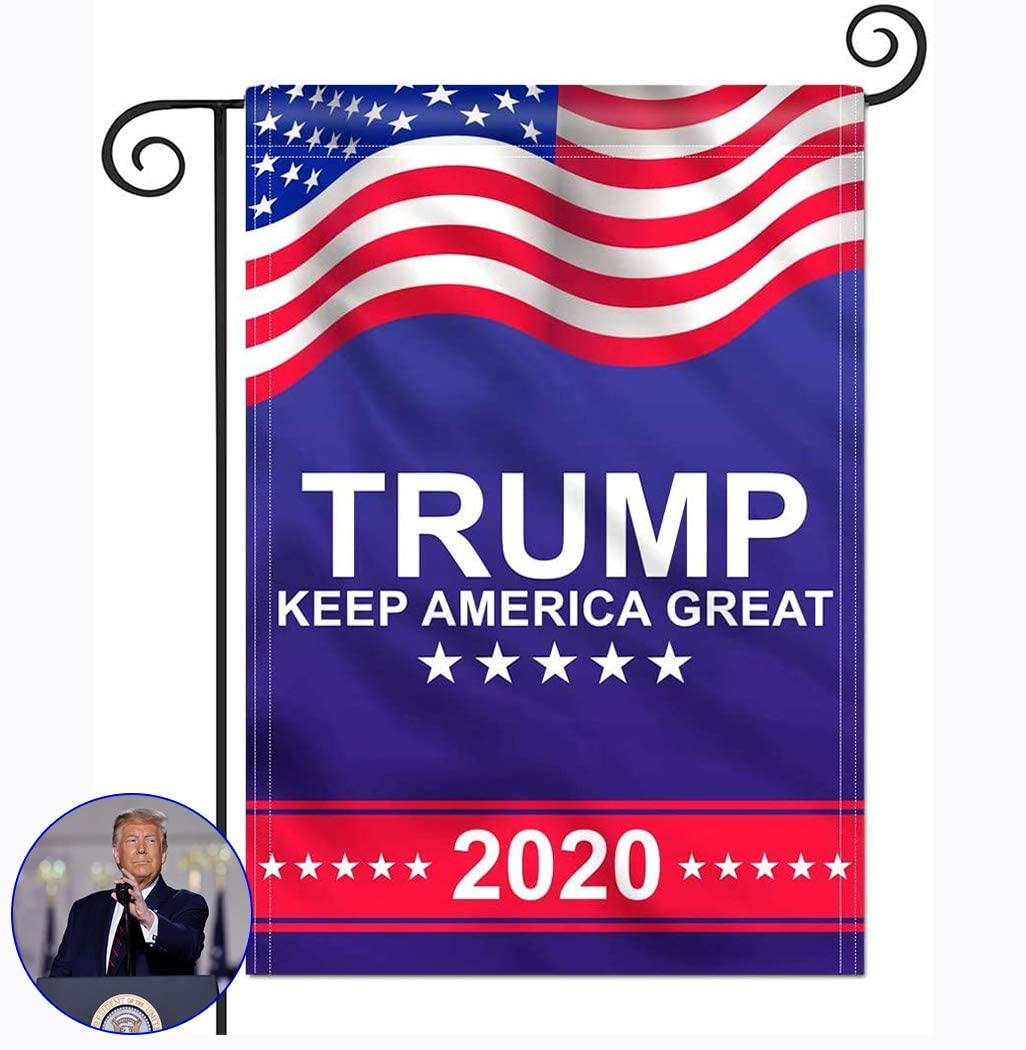 Donald-Trump-2020 Garden Flag, Double Sided 12.5x18 Inch President Keep America Great, Double Sided Garden Yard Lawn Outdoor Decoration Banner for Election Day Party Event Celebration Parade Flags