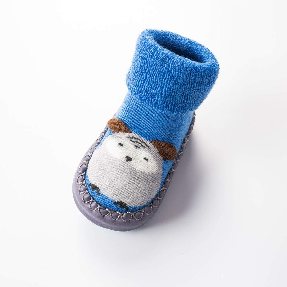 NUWFOR Newborn Baby Boys Girls Cartoon Cute Warm Floor Socks Anti-Slip Baby Step Socks(Blue,6-9Months by NUWFOR (Image #2)