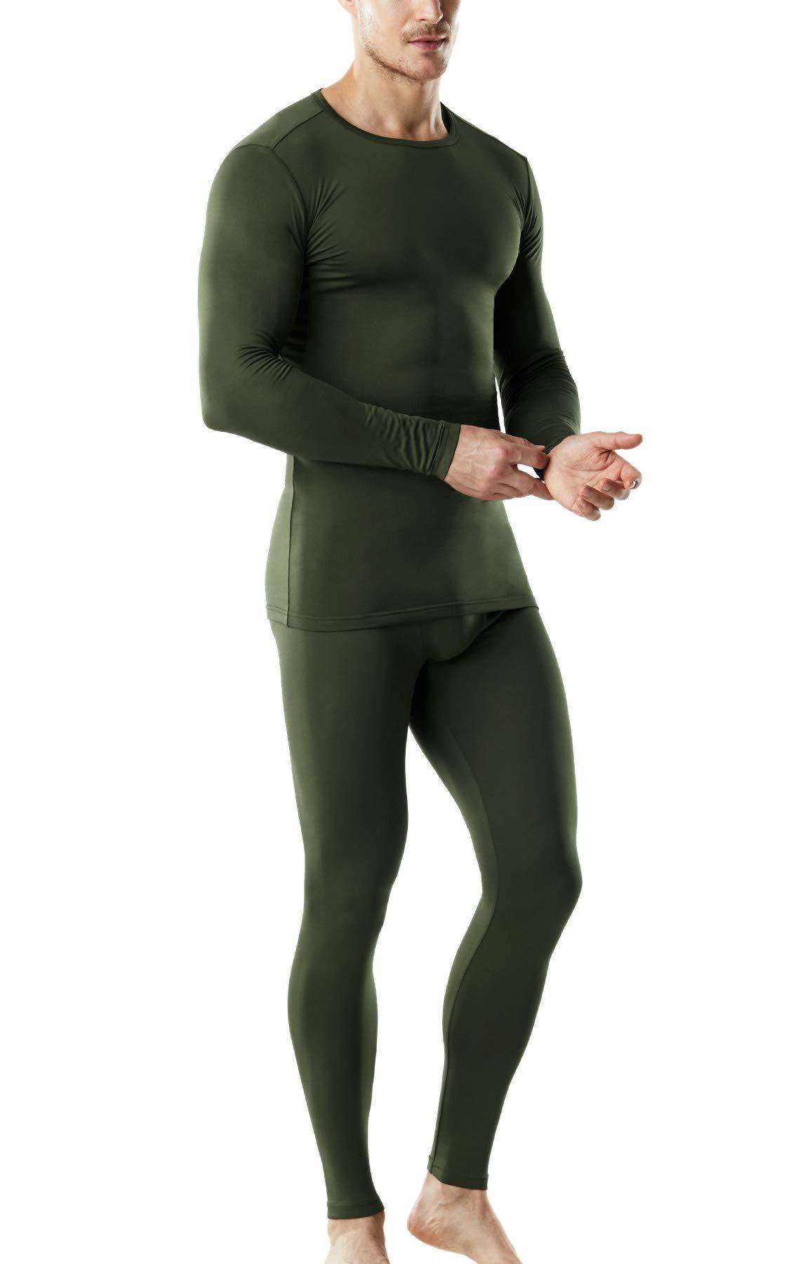 TSLA Blank Men's Microfiber Fleece Lined Top & Bottom Set, Thermal Fleece(mhs100) - Olive, Large by TSLA