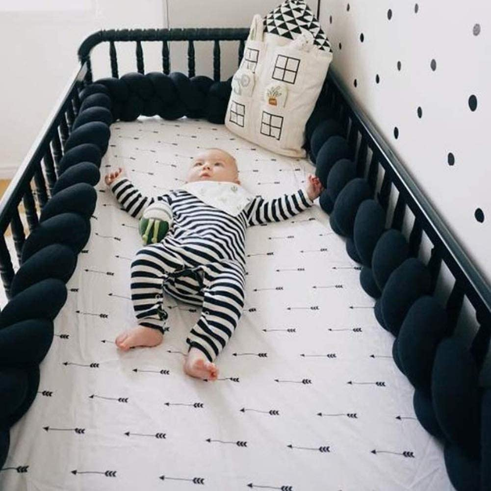 MCKOD Braided Soft Baby Cot Bumper Nursery Baby Cot Protector Bed Sleep Bumper Pillow Cushion Cradle Decor Color : Black, Size : 400cm//157inch