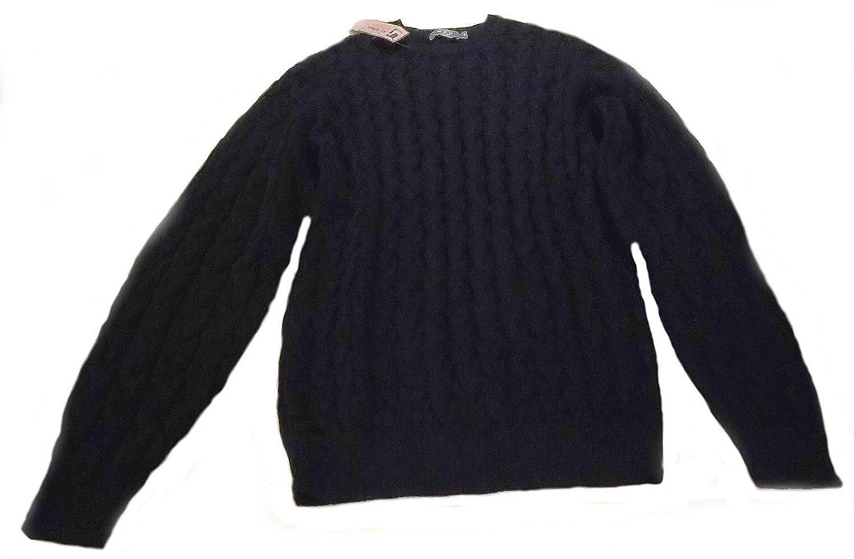 Alpacaandmore Herren Pullover 100% Babyalpaka Wolle Rundhals schwarz