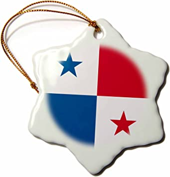 3drose Flag Of Panama Central America Panamanian Red White Blue Squares Stars Country World Snowflake Ornament Home Kitchen