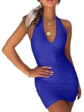 2bd6ce17c98 TOB Women's Sexy Backless Ruched Halter V-Neck Bodycon Club Mini Dress  Royal Blue