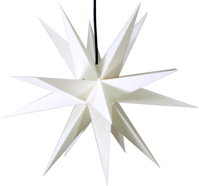 sehr stabiler Au/ßenstern /Ø 60 cm Adventsstern mit 20 Spitzen inkl 4 m Au/ßenkabel Weihnachtsstern Melchior outdoor II wei/ß
