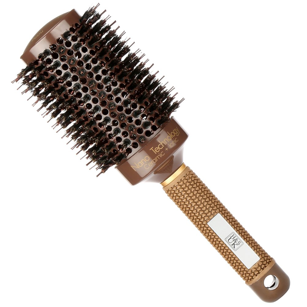 H& S Round Hair Brush Blow Dry Drying Boar Bristle 53mm Large Round Barrel Nano Technology Ceramic Ionic Hairbrush H and S Alliance UK Ltd