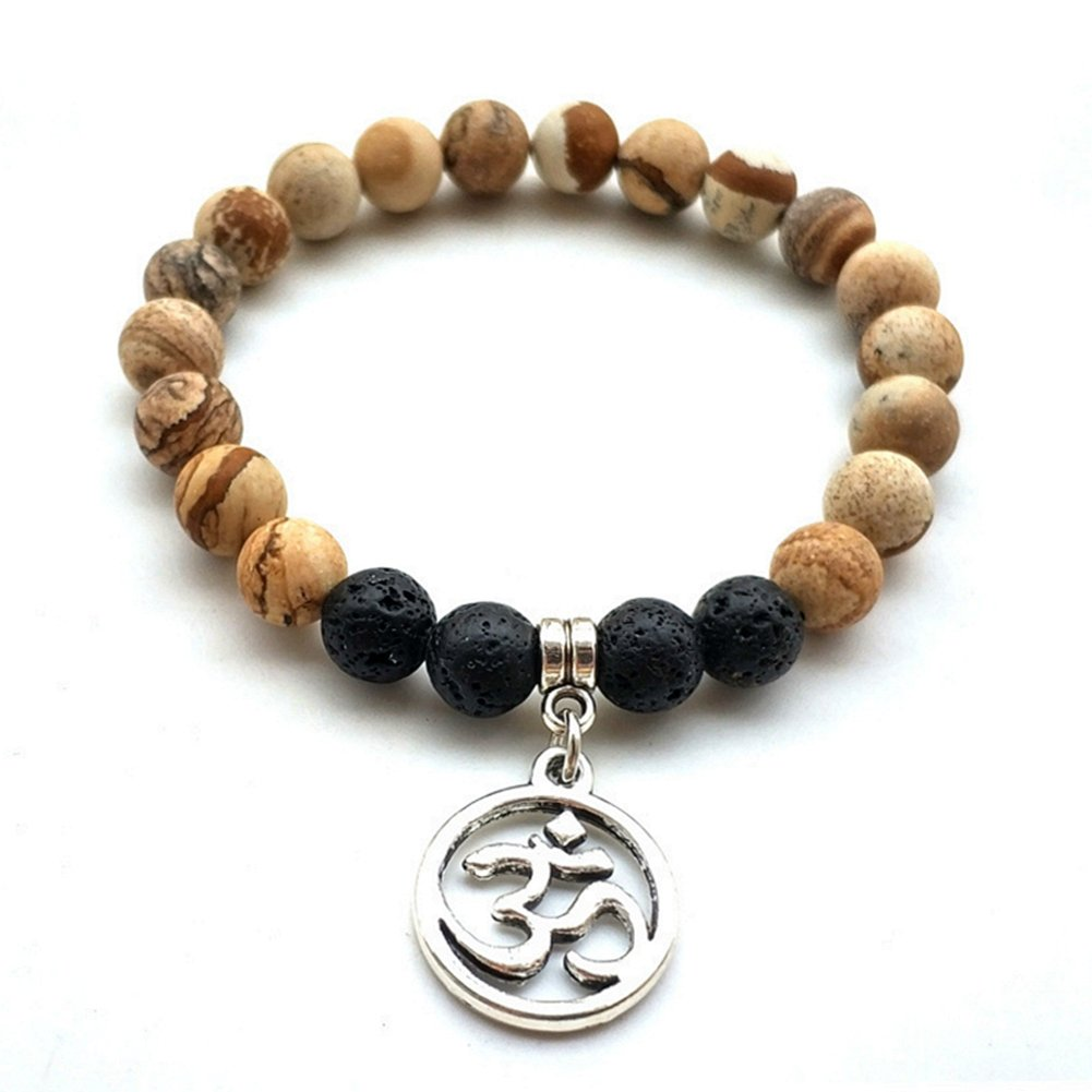 Lava Rock Picture Jasper Mala Beads Bracelet Tree of Life Essential Oil Diffuser Yoga Meditation Reiki Bracelet YSY Bead-088