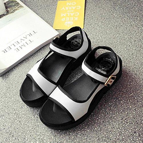 RUGAI-UE Sandalias de Verano Mujer Estudiante de fondo plano inferior grueso Ocio zapatos planos White