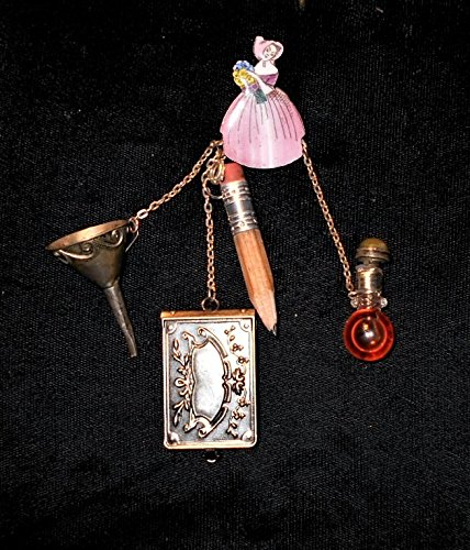 CHATELAINE Enameled Victorian Lady Pink Crinoline Dress Brooch, Note Pad Pencil, Sterling Perfume Funnel, Mini Perfume Bottle Antique Dauber One of a Kind! by EMENOW