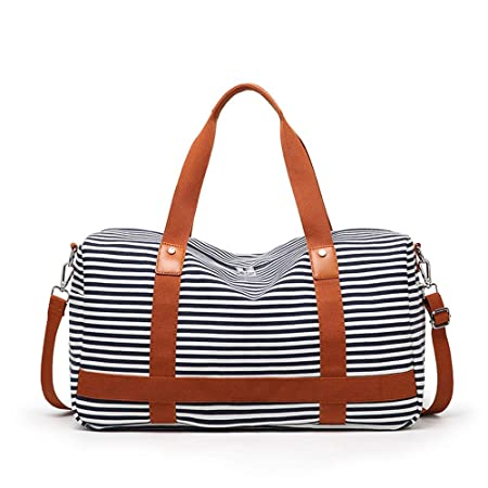 2a616fb6ba Foldable Travel Duffel Bag Unisex Large Capacity Canvas Portable Striped  Weekend Overnight Travel Bag Fitness Sports