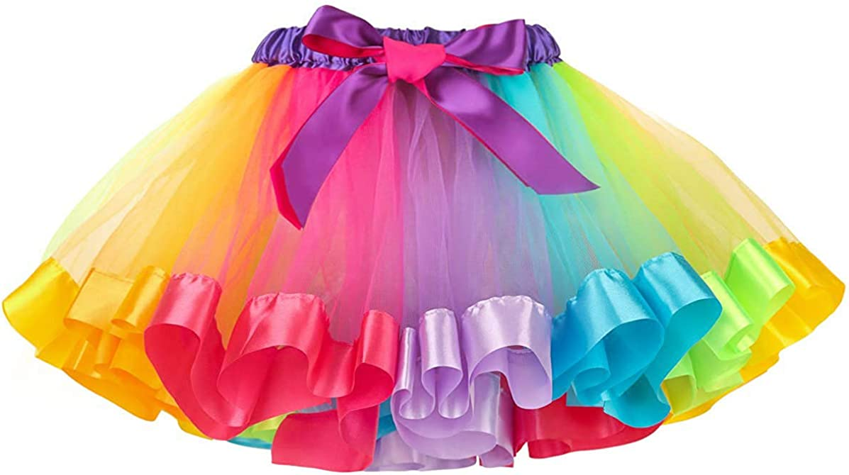 MMTX Tutu Skirt para niñas Arco Iris Falda de Tul Danza Falda Girls Rainbow Tutu Skirt Disfraces de Ballet para Niñas Pequeñas de 2 a 8 Años