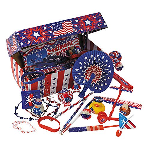 Fun Express - Patriotic Treasure Chest Assortment for Fourth of July - Toys - Assortments - 100Pc Assortments - Fourth of July - 101 Pieces