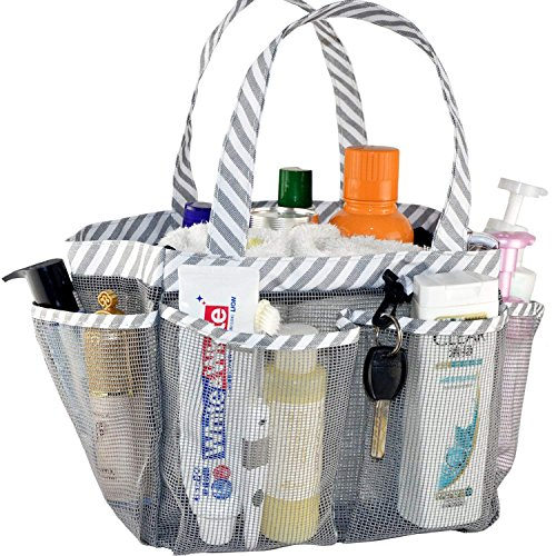 ACEEN Mesh Shower Caddy Tote, Portable College Dorm Bathroom Tote Organizer for Bathing Storage, Collapsible Quick Dry Mesh Toiletry Bag with 8 Pockets Basket with Key Chain for Camp ()
