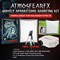 AtmosfearFX Ghostly Apparitions DVD Ultimate Haunting Kit, Includes Hallosreen Translusent Screen, HoloScream Hologram Screen With Stand Kit