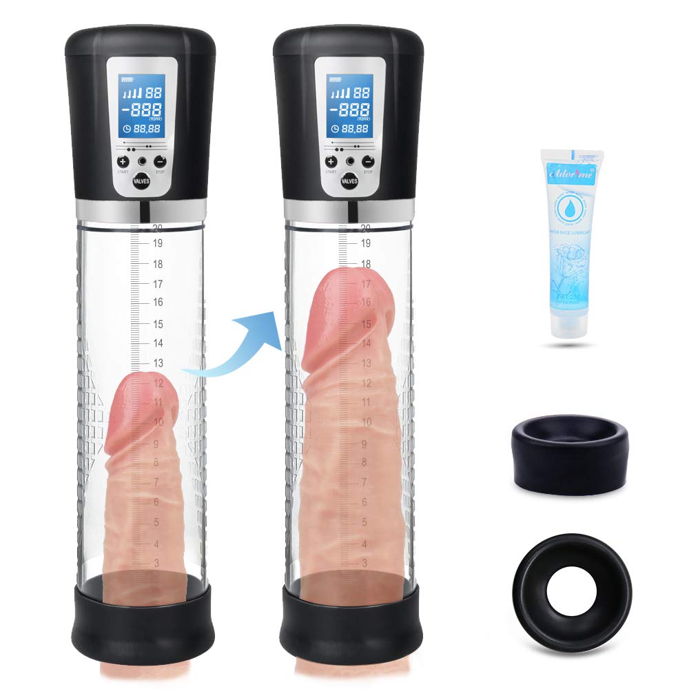 Electric Penis Vacuum Pump with 4 Suction Intensities, Adorime Rechargeable Automatic High-Vacuum Penis Enlargement Extend Pump, Penis Enlarge Air Pressure Device for Stronger Bigger Erections