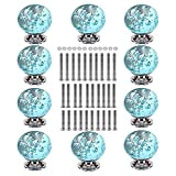 glass kitchen cabinets TLBTEK 10 Crystal Drawer Knobs, 10 x 30mm Aqua Blue Bubble Crystal Glass Kitchen Cabinet Knobs for Dresser Drawers, Cabinet, Wardrobe, Cupboard, Furniture with 3 Different Sizes Screws
