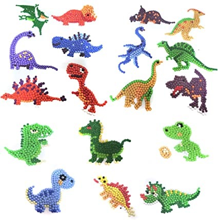 18 Pieces Diamond Painting Stickers Cute Dinosaur Diamond Art Paintings for Kids 5D DIY Sticker Paint with Diamonds Kits Number Painting with Mosaic Art Kits for Children and Beginner Adults