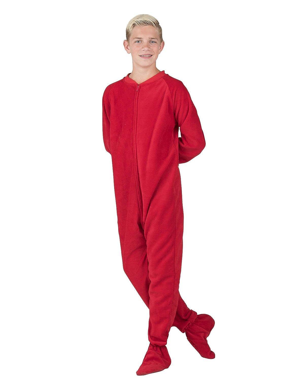 fa95dc4fc Footed Pajamas - Bright Red Kids Fleece Onesie - anadive.com.do