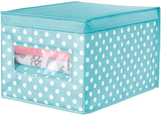 mDesign Caja organizadora grande de tela – Caja de almacenaje apilable con tapa y ventanilla para ordenar armarios y guardar ropa – Organizador de armarios de lunares – azul turquesa/blanco: Amazon.es: Hogar