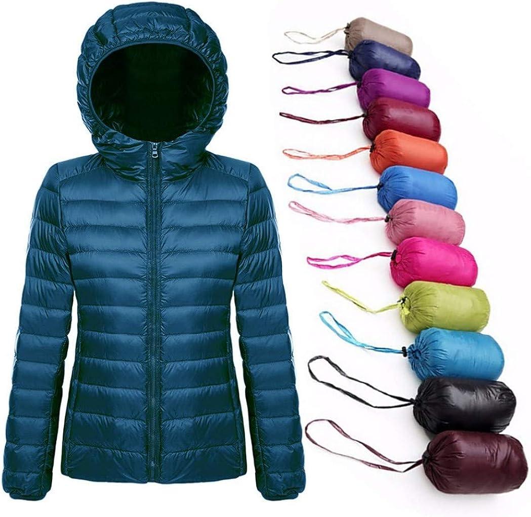 Doudounes légères à Capuchon Pliables pour Femmes Puffer Coats Veste de Ski en Duvet pour Femmes Du Vin