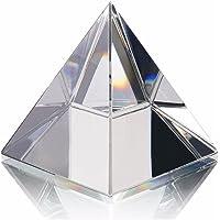 Energy Healing - Pirámide de vidrio transparente con soporte de oro para Feng Shui Egipto