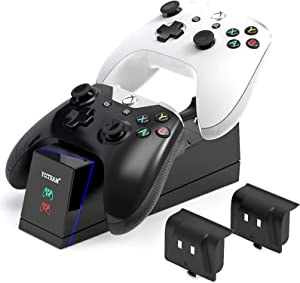 Xbox One Controller Charger Station, Dual Xbox One/One S/One X/One Elite Controller Charging Station with 2 Pack1200 mAh Xbox One Rechargeable Batteries