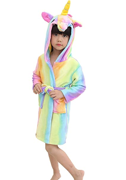 8e237c9ba Hotmall Kids Unicorn Hooded Bathrobe Soft Animal Flannel Sleepwear ...