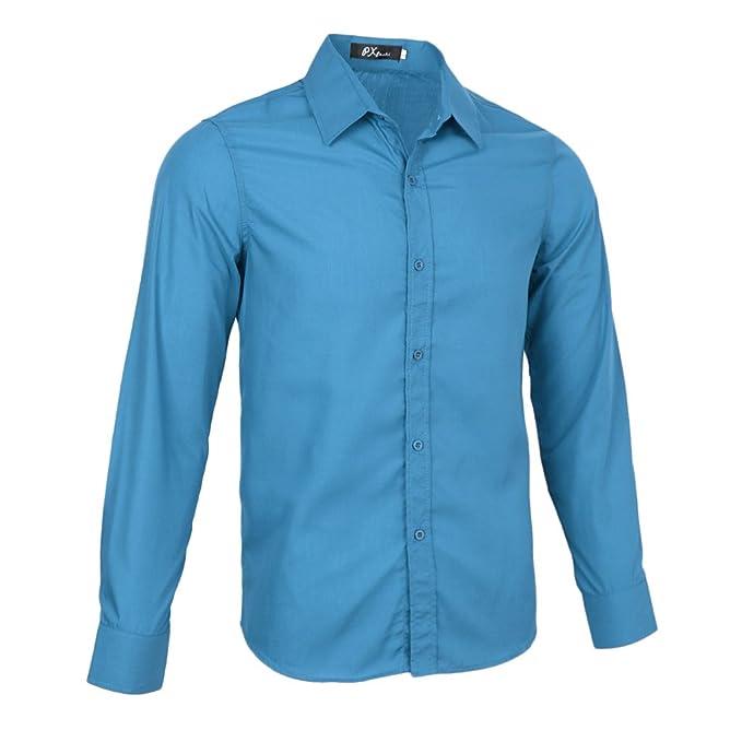 Magideal Camisas Vestir Sólidos Hombres Casual Formal Slim Fit Trajes Tela Suave Regalo Novio wIeT02FCWk