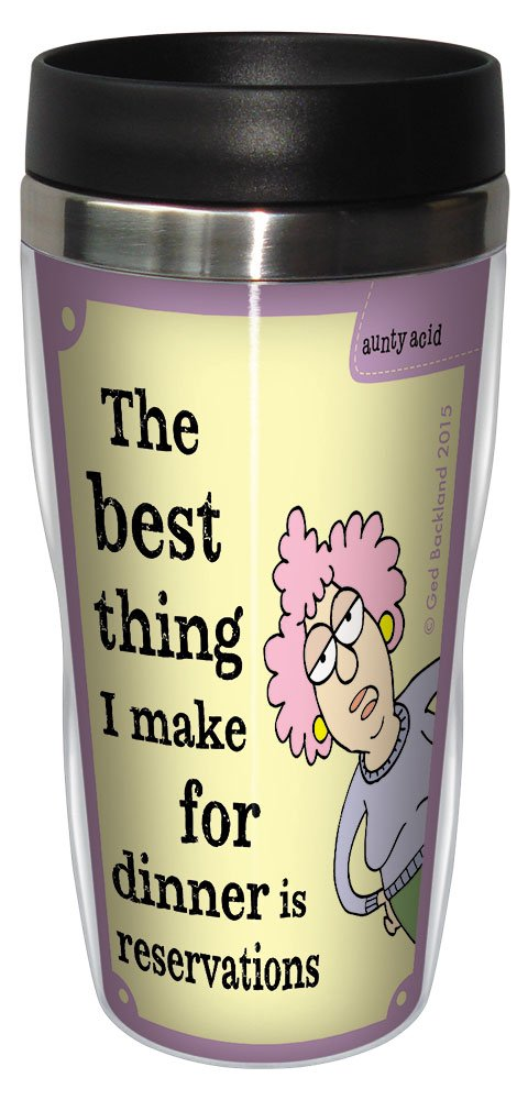 Tree-Free Greetings 16-Ounce Sip 'N Go Stainless Lined Travel Mug, Aunty Acid Dinner Reservations (SG78389)