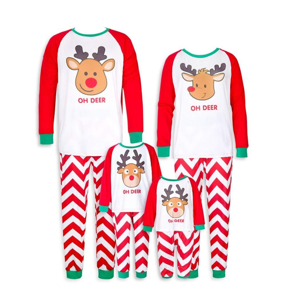 Toddler Kids Christmas Pajamas Stripes Oh Deer Matching Long Sleeve Sleepwear Jlong JL-ZQBX0067CRS