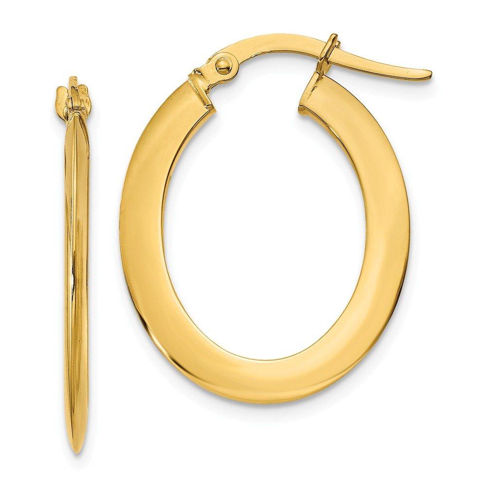 14k 1.5mm Polished Flat Oval Hoop Earrings