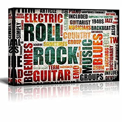Canvas Prints Wall Art - Illustrated Graphic of Rock and Roll | Modern Wall Decor/Home Decoration Stretched Gallery Canvas Wrap Giclee Print. Ready to Hang - 32