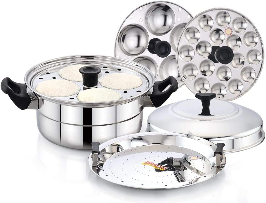 Stainless Steel Multi Steamer Pot- 1 Idli Plates (9 Idlis), 1 Mini Idli Plate (20 Mini Idlis) and 1 Multi Purpose Steamer/Idiyappam Steamer Plate (Induction Compatible)