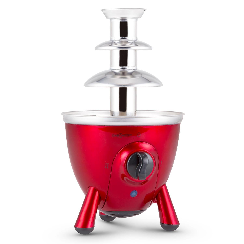 oneConcept Cioccolata di Trevi fontana di cioccolata (60 Watt, 3 piani, 17 cm di altezza, due modalità di funzionamento, cioccolato, formaggio, salsa barbecue, acciaio inox) - rosso