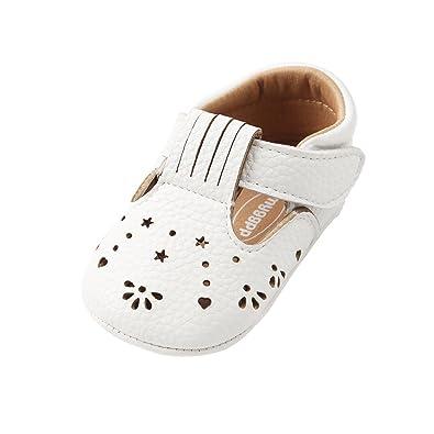 ea2de04475405 ESTAMICO Chaussures Premiers Pas bébé Fille Baskets bébé en Cuir Souple  Blanc 0-6 Mois