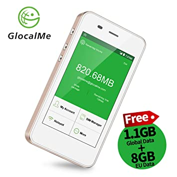 GlocalMe G3 Travel Mobile WiFi Hotspot with 1 1GB initial global data and  8GB European Data, Unlocked to All Networks, Portable WiFi with 5350mAH