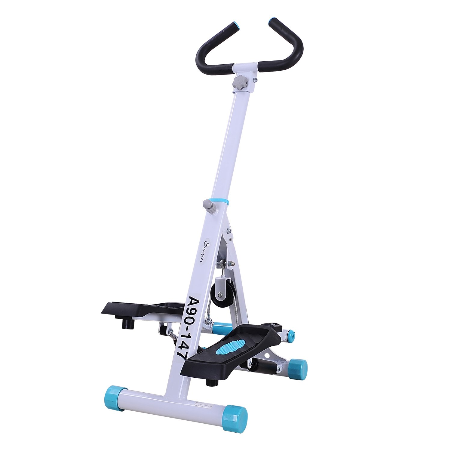 Soozier Adjustable Twist Stepper AB Body Workout Machine Aerobic Fitness Exercise w/Handle Bar and LCD Monitor by Soozier