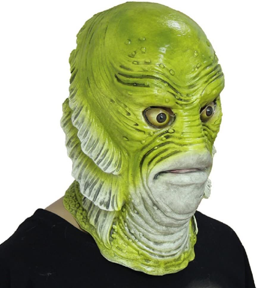 DylunSky New Halloween Fish Monster Latex Mask Full Head Scary Mask