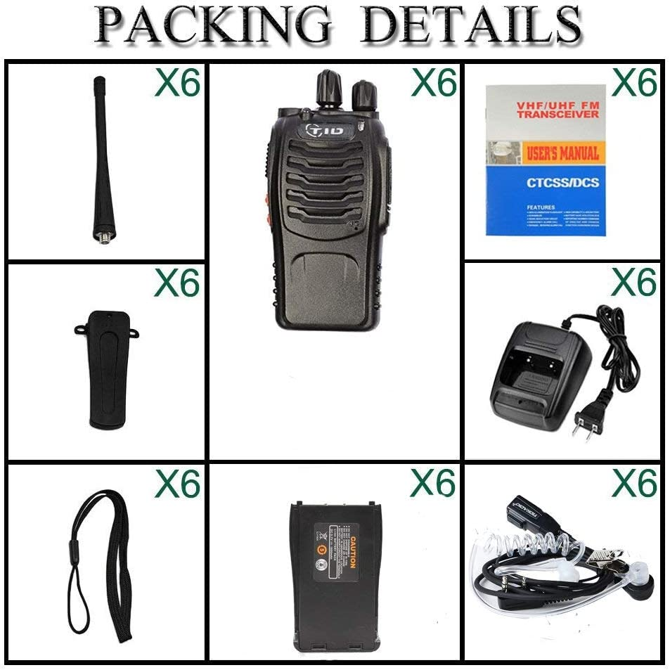 TID TD-V2 2 Way Radio Rechargeable Two Way Radio UHF FRS 2Way Radios Walkie Talkies Long Range Walkie Talkies for Adults with Air Acoustic Earpiece (6 Pack)