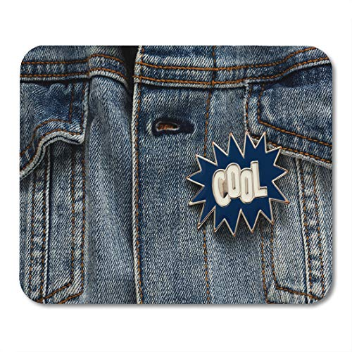 Emvency Mouse Pads Blue 90S Denim Jacket Cool Graphic Pin Funky Accessory Mouse Pad for notebooks, Desktop Computers mats 9.5
