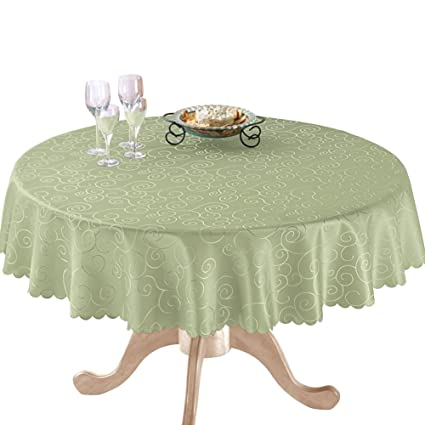 Amazing Fancy Scroll Scalloped Edge Festive Tablecloth, Sage Green, 70u0026quot; Round