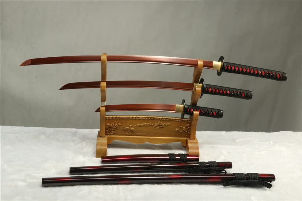 1095 Carbon Steel RED Blade Forged Japanese Samurai Swords Set Full Tang(Katana + WAKIZASHI +Tanto) Free Send Black Stand
