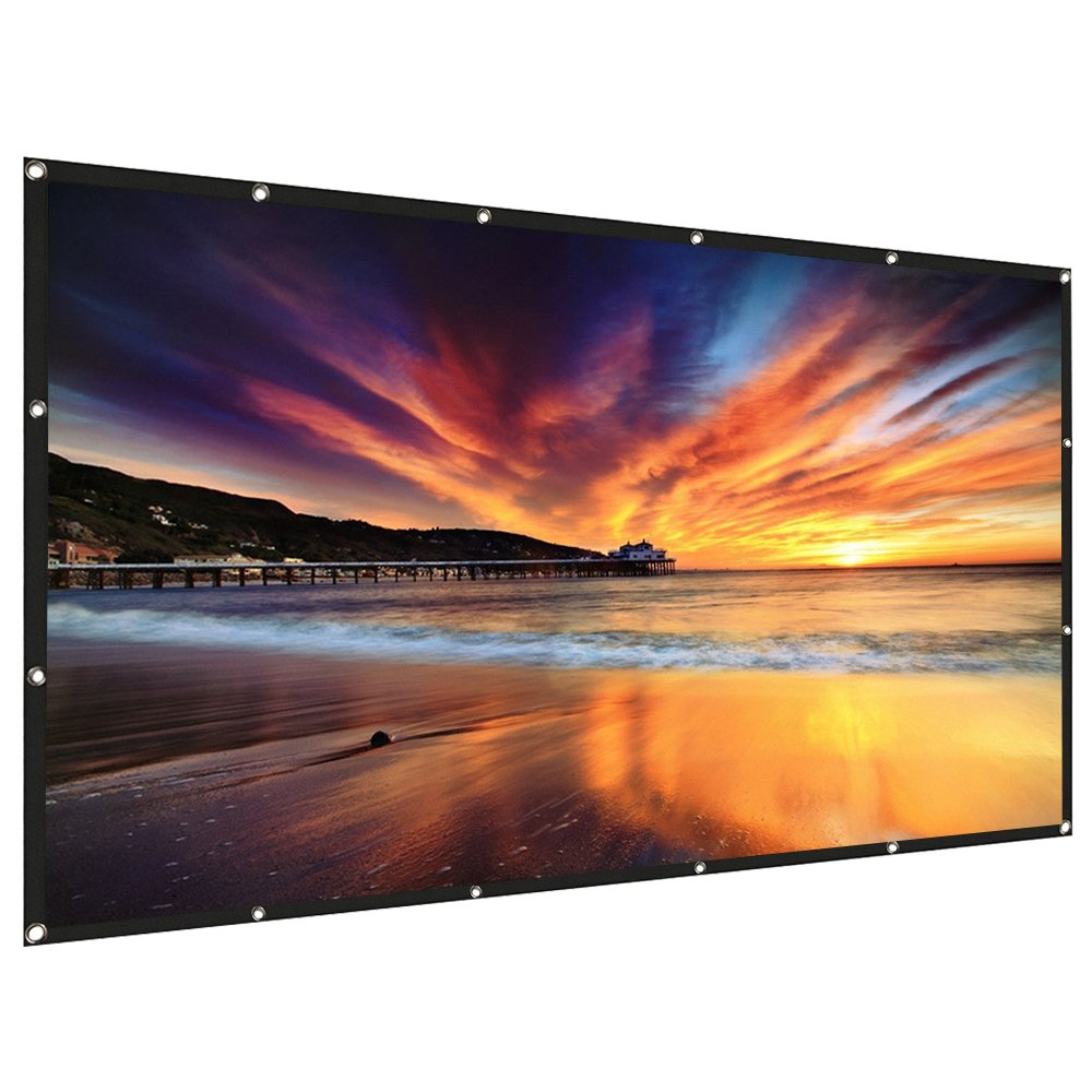 RELEE Projector Screen 120 Inch 16:9 HD Foldable Anti-Crease Portable Outdoor Indoor Projector Movies Screen Wall Mount for Home Theater Support Double Sided