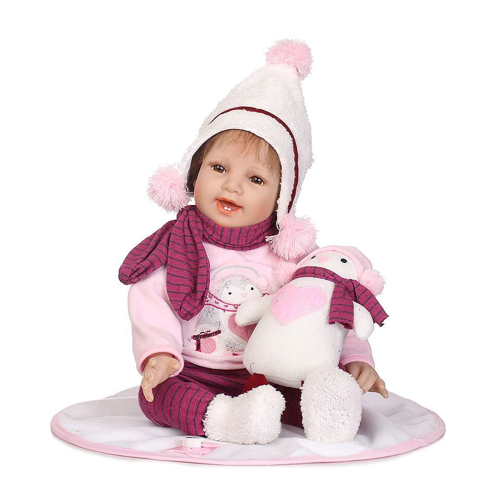 Mentin Reborn Baby Puppe Silikon Babypuppe Mädchen Mit Stoff Körper 55cm Augen Offnen, Magnetisch Mund
