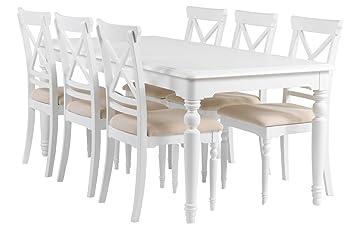 Essgruppe Charlot Esstisch 6 Stühle Tischgruppe Esszimmer Tisch Stuhl Weiß