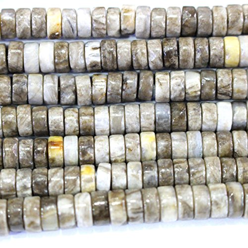 Silver Leaf Jasper Gemstone (Natural Color silver leaf mist jasper rondelle 3*6mm Gemstone Jewelry Making Loose Beads for jewelry making)