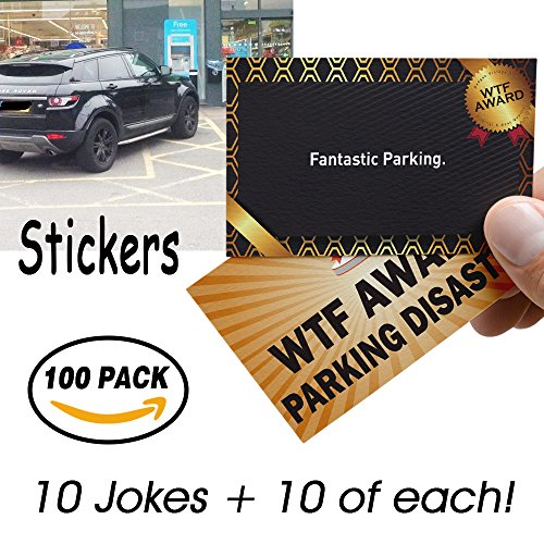 100 Pack Stickers Bad Parking Business Cards 10 Designs Funny Joke Gag Gift Notes Cards Fake Parking Ticket Insult Set & Prank Funny Greeting Card (Gag Tickets)