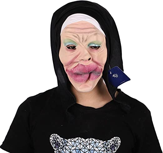 PQW Máscara de Fiesta de Halloween Labios Gruesos Cara Látex Arnés Terrorista Disfraz Bola Demonio Máscara de Gas Fiesta Cultura: Amazon.es: Jardín