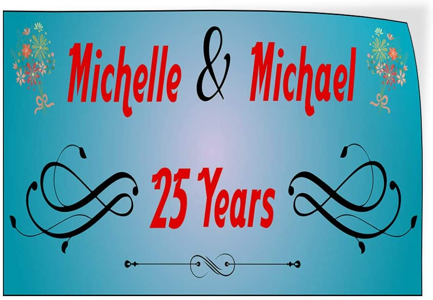 Lifestyle Happy Anniversary Outdoor Luggage /& Bumper Stickers for Cars Blue 45X30Inches Set of 5 Custom Door Decals Vinyl Stickers Multiple Sizes Anniversary Husband Wife Names