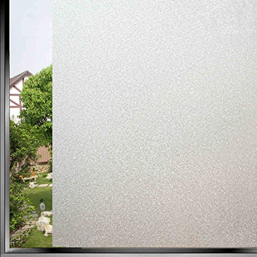 Fofon Non-Adhesive Static Pure Frosted Window Film Privacy Decorative Vinyl Glass Films for Home Bathroom Office Meeting Room 17.71 by 78.74 Inches