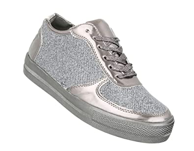 76204b7aa6 Schuhcity24 Damen Glitzer Sneakers | Sportschuhe Schnürer |Sneaker Low  Stoffschuhe | Damenschuhe Flats | Trendy Freizeitschuhe | Flache Metallic  ...